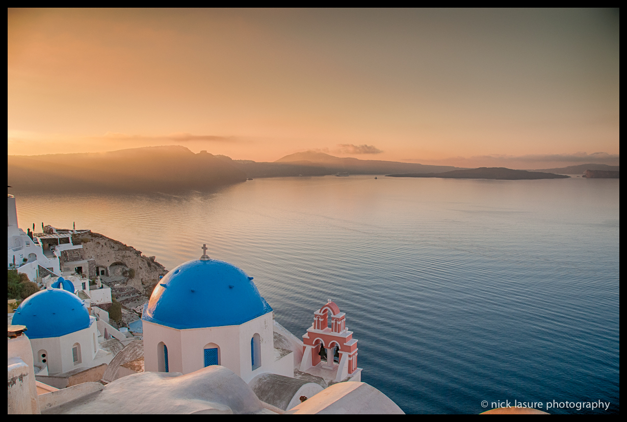 A classic view of Santorini in the early morning.