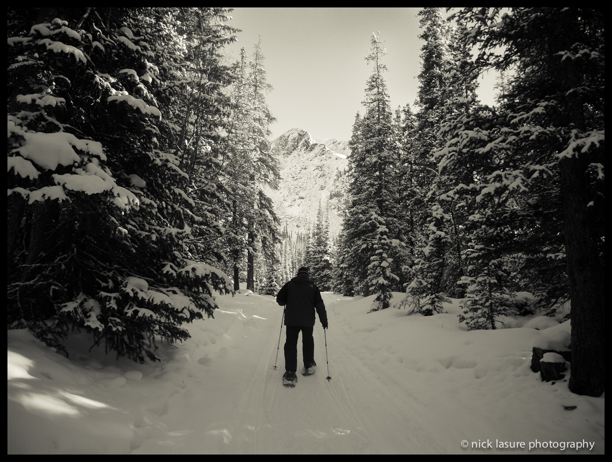 January   | A Late Christmas - being an airline pilot I don't get to spend very many actual holidays with my wife or family.  So per our new normalized routine we celebrated Christmas with my family in January, this is picture of my Dad snowshoeing in the Colorado backcountry near Keystone.