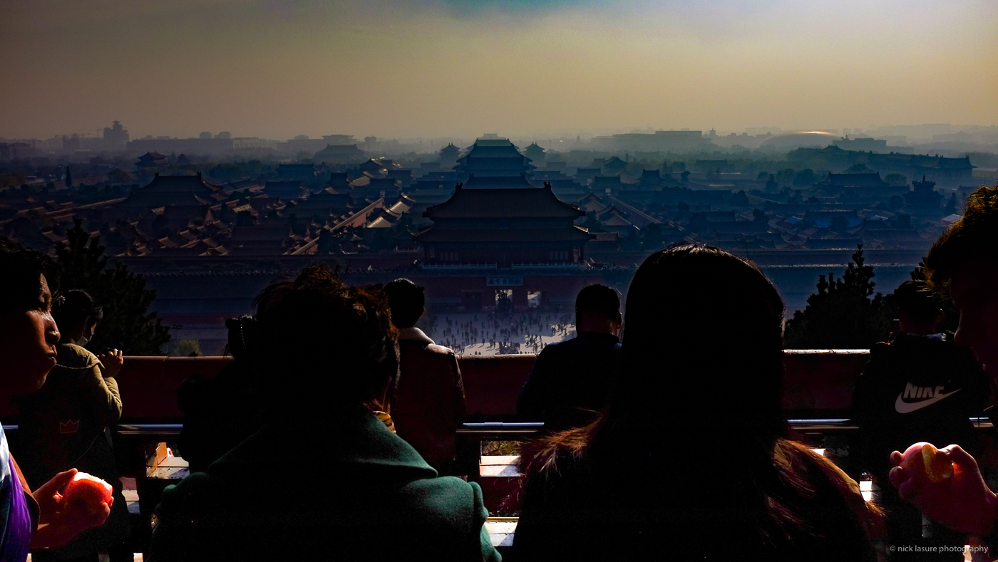 The Forbidden City theatre with a bit of smog from Jingshan Park   Fuji X100T