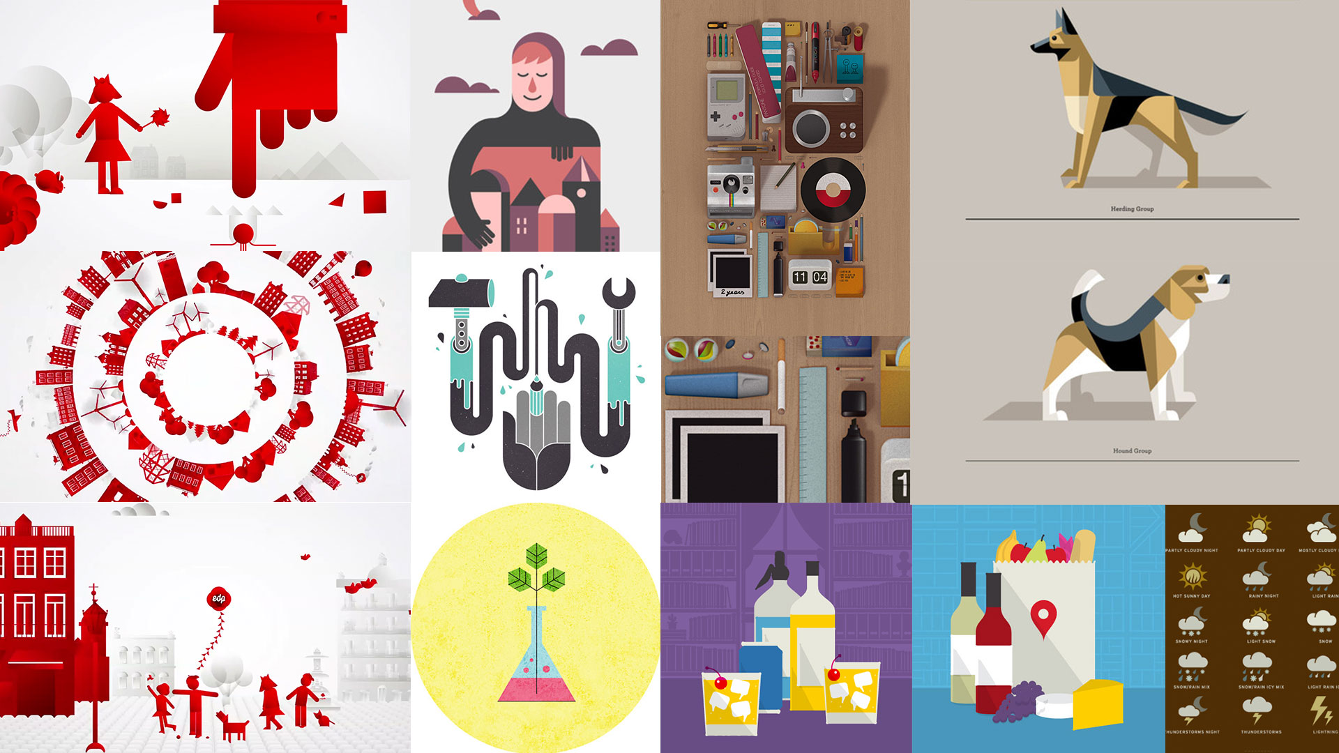 Moodboard of graphic approach.