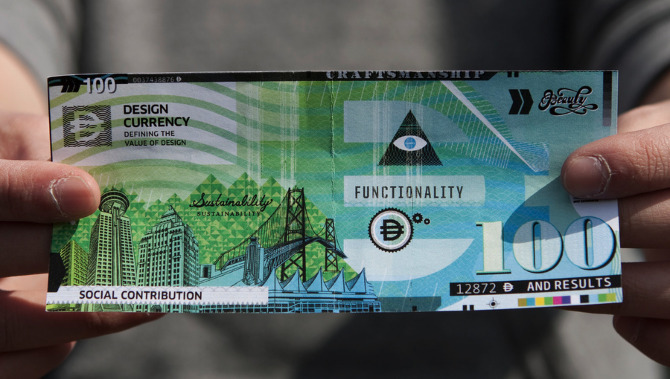 Rethink's design of a 100 design-dollar bill.
