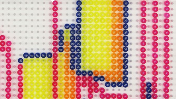Closeup of animated Perler beads.
