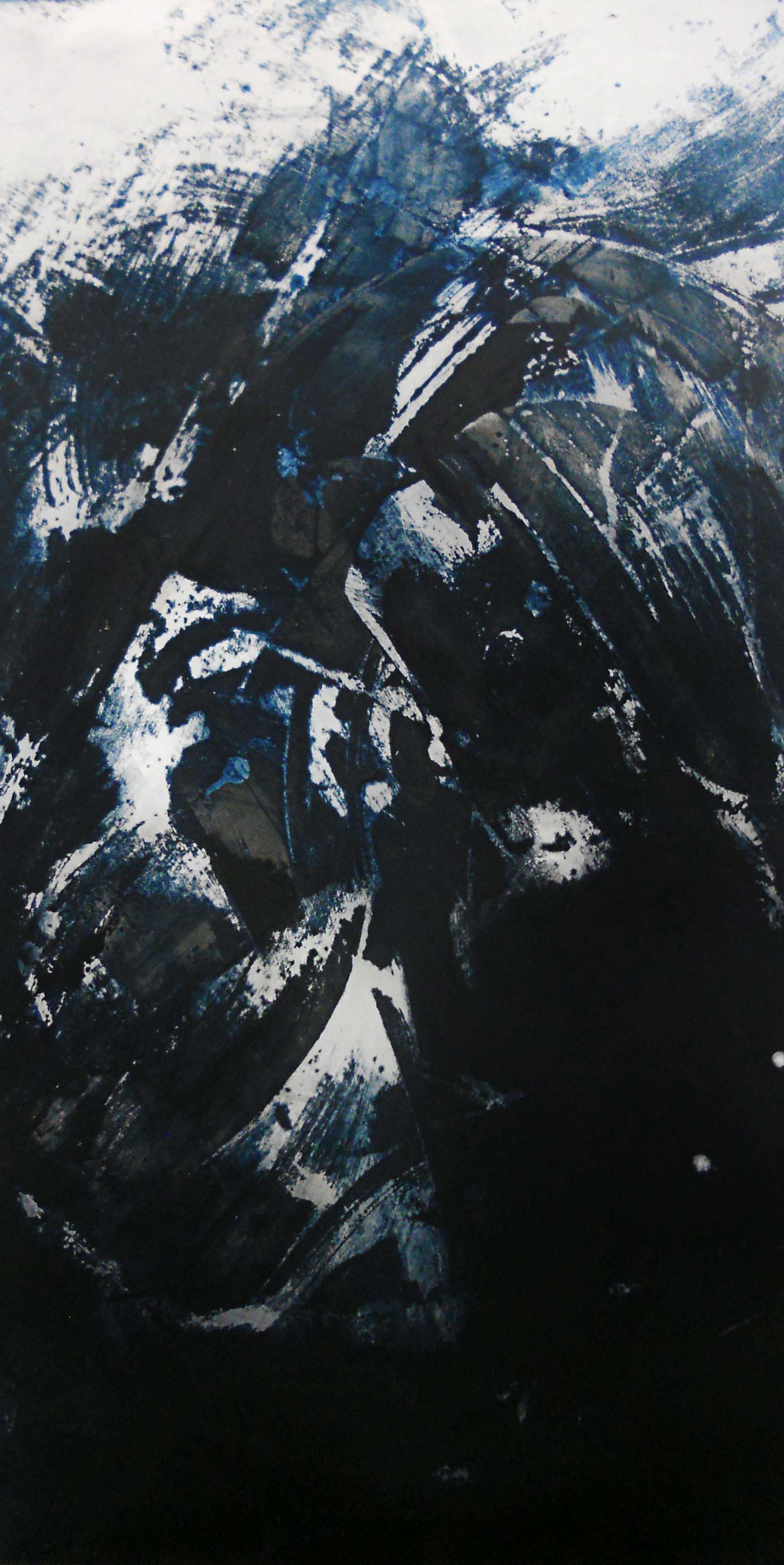 Surge,2014    Mixed media on aluminum // 24 x 48 inches