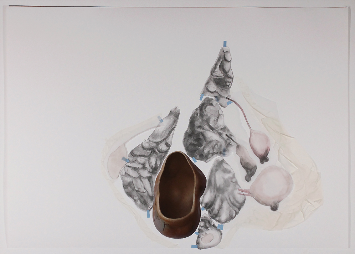 Mariana Manhães | Toda palavra tem uma gruta dentro de si #3 | 2016 | Técnica mista | 70 x 100 cm