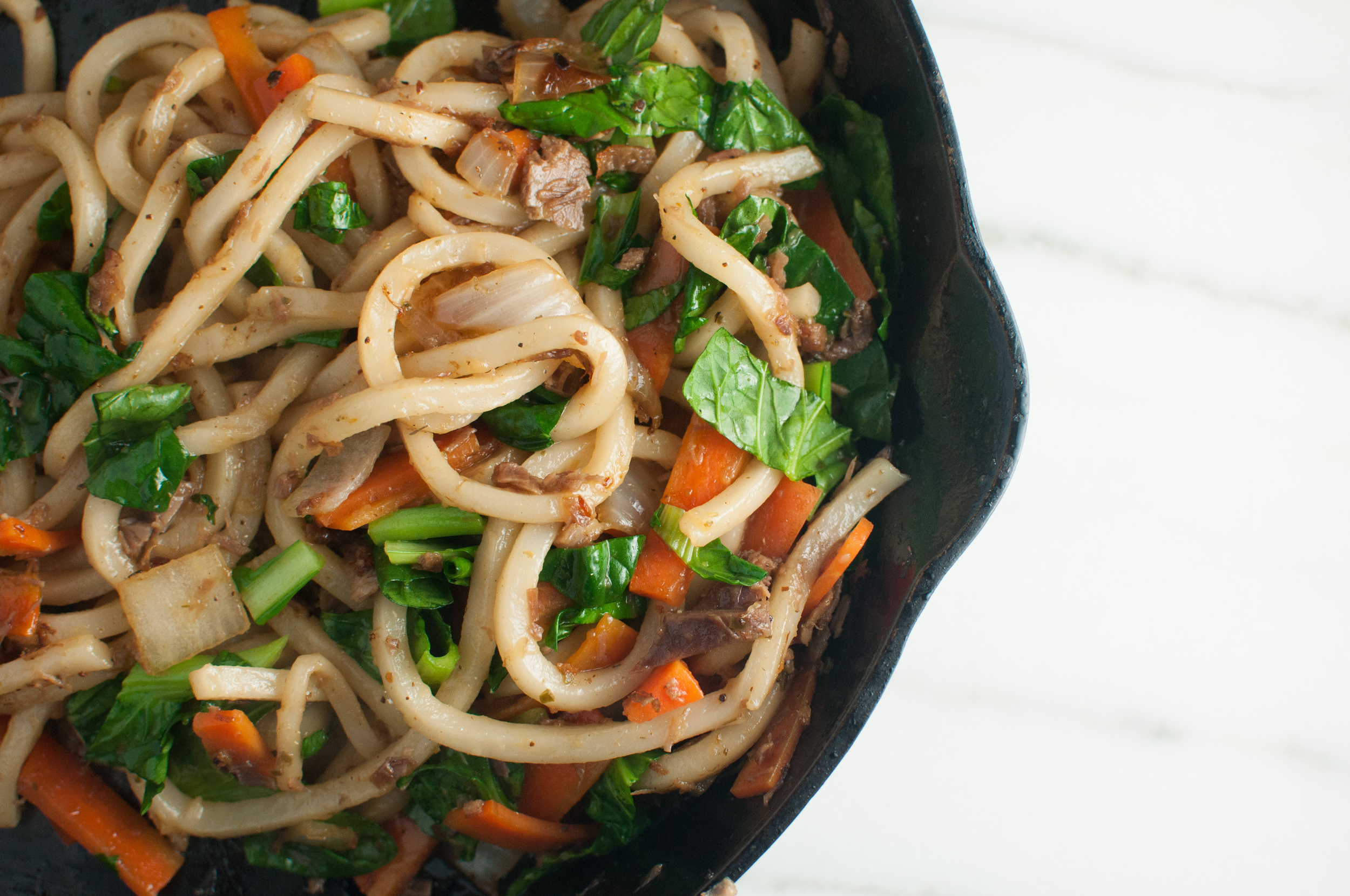 Recipe Yakiudon Noodles Cast Iron Food Photography