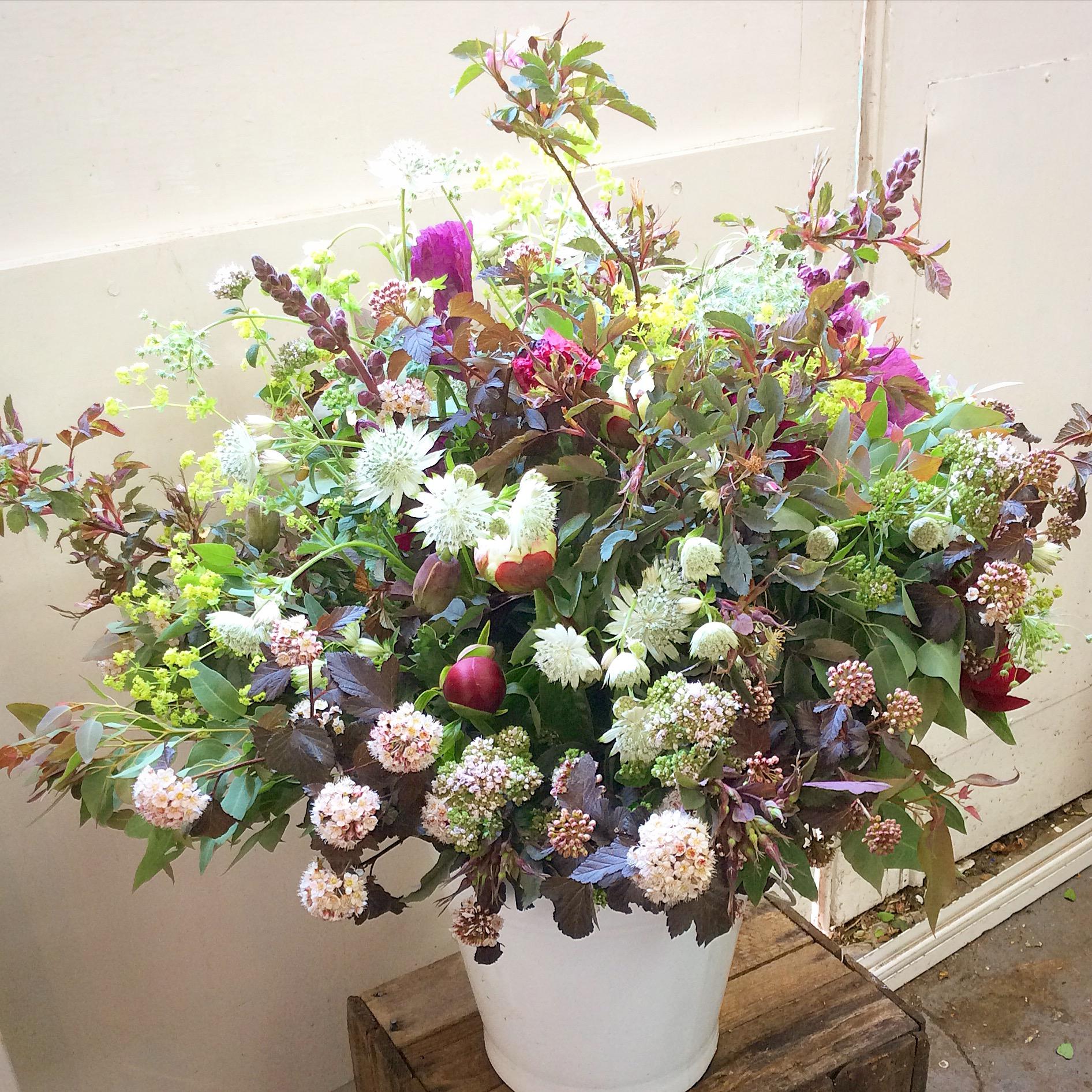 Enamel Bucket of Seasonal Flowers