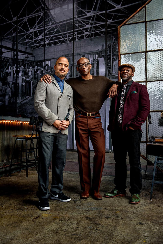 Left to right - Daniel Bernard Roumain ,  Bill T. Jones , Marc Bamuthi Joseph , at  Fringe Arts .