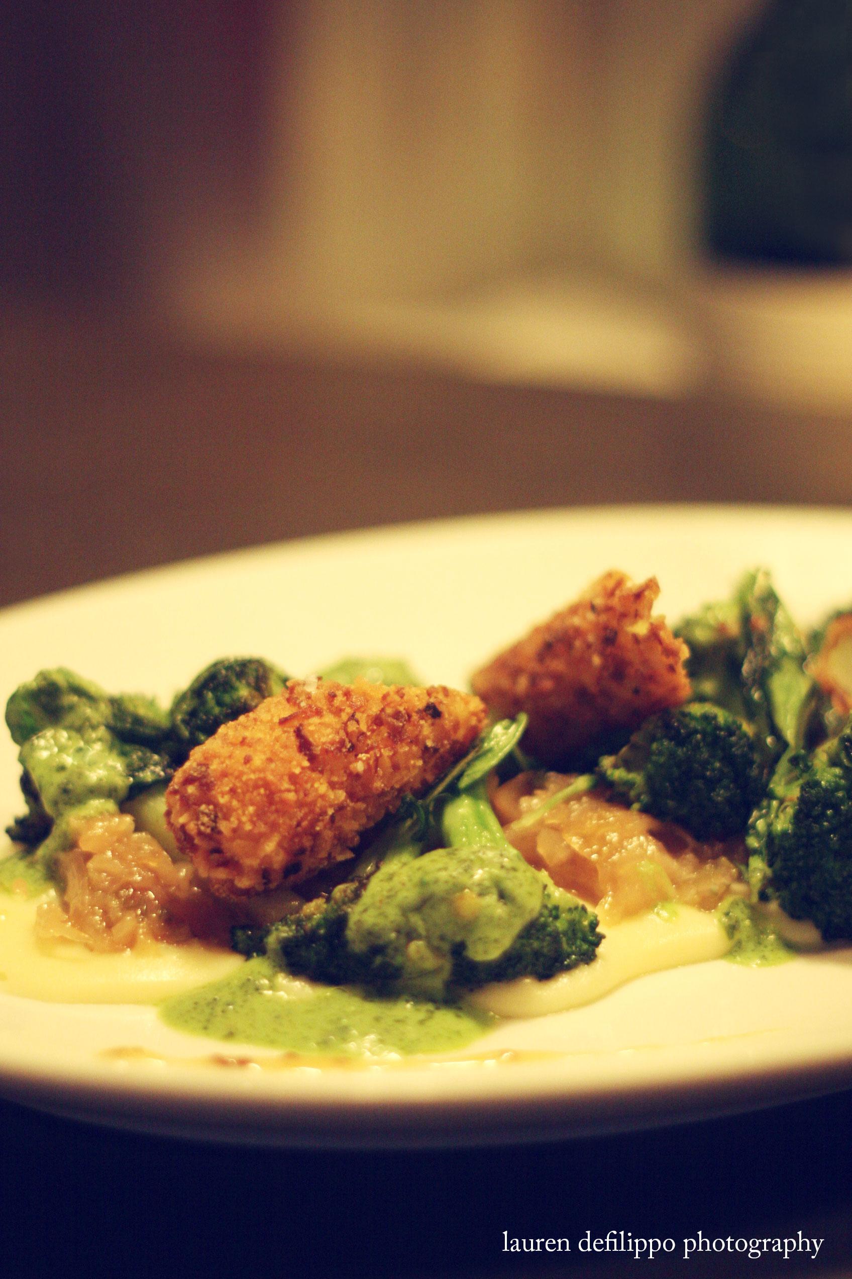 Broccoli with cabbage, mustard, pretzel