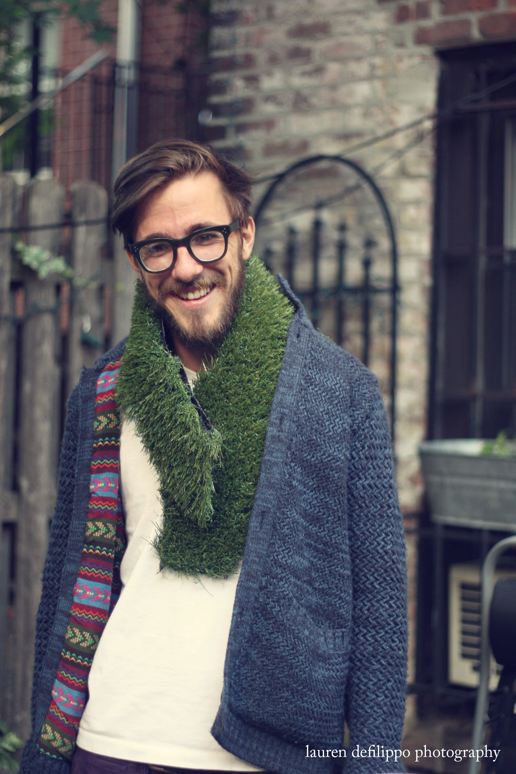 My amazing, if ridiculous friend Moritz—donning astro turf from his backyard as a scarf.
