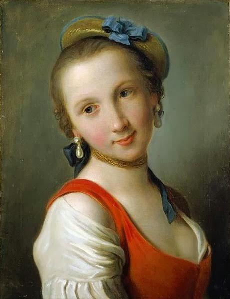 """""""A Girl in a Red Dress,"""" Pietro Antonio Rotari, 1775.  El Paso Museum of Art  ."""