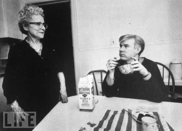 Andy Warhol with mother in LIFE magazine, 1960s (?).