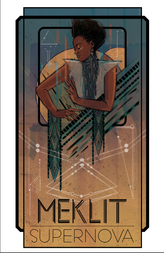 A tour poster I created for Ethio-Jazz musician, Meklit, centered around her Afrofuturist track, Supernova. This piece was also published in Cosmic Underground, A Grimoire of Black Speculative Discontent.