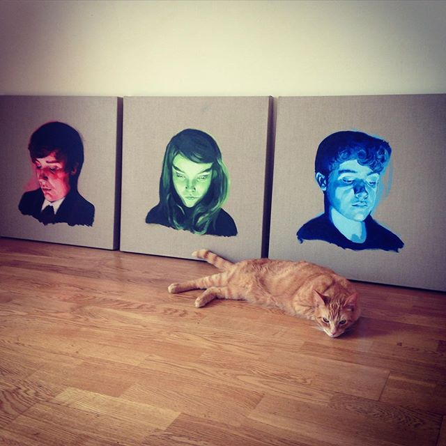 Dropped off my latest commission last week. The cat instantly liked them. Must be a good sign. #Screenlight #portraits #RGB #cat #oilpainting #linen 60x60cm each #triptych #art #painting #lizbarilepage #kids in #tablet device #light