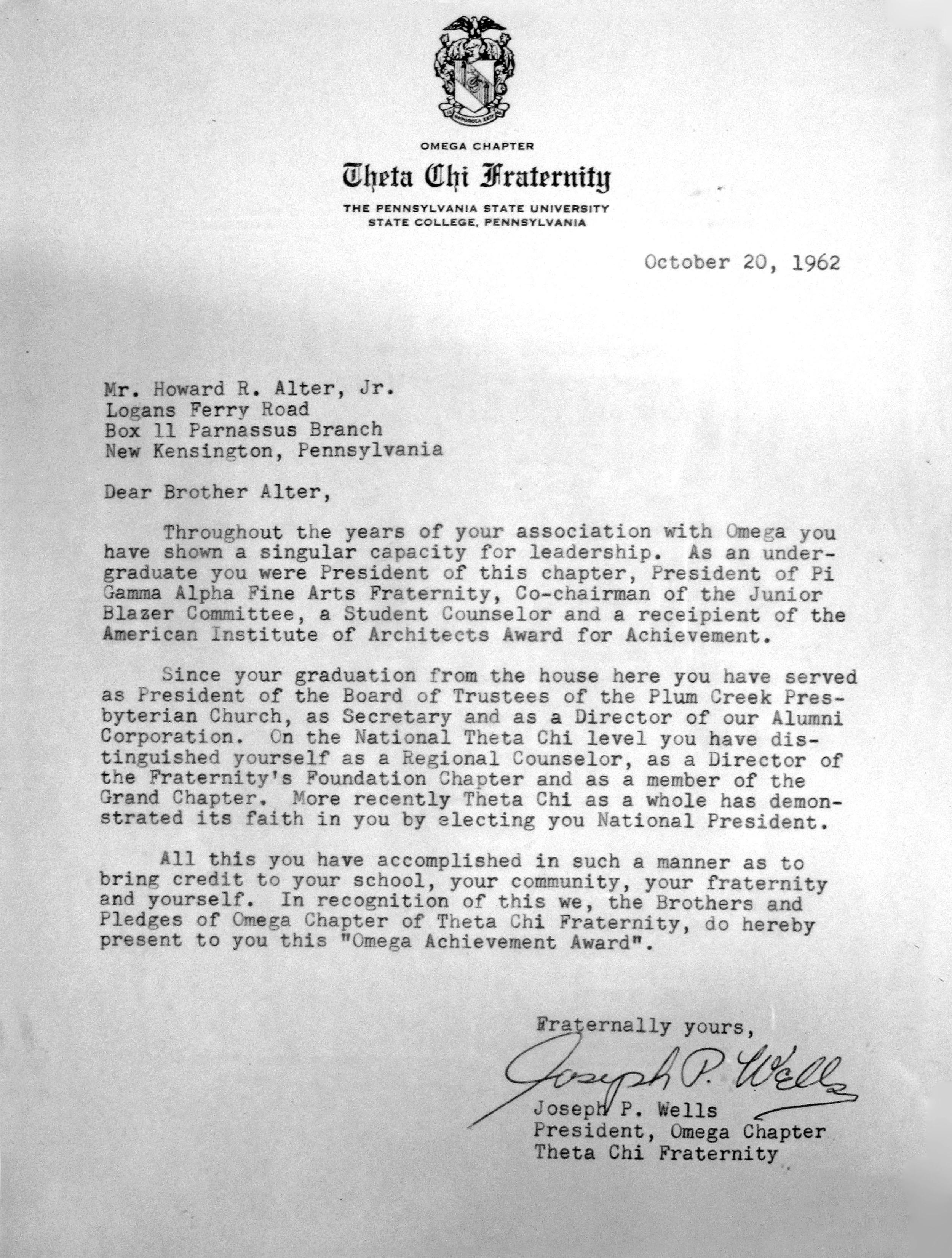 Alter Achievement Award Letter