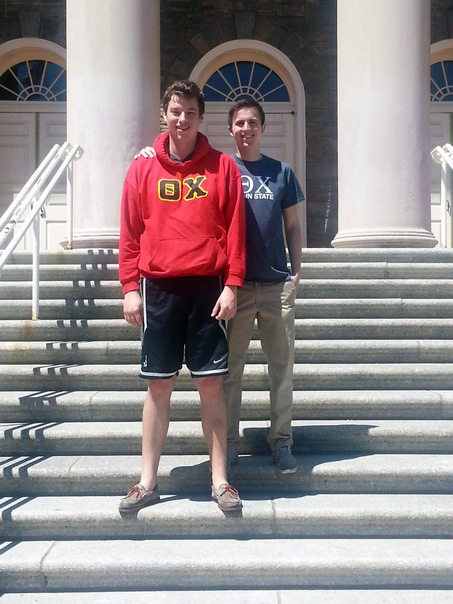 Jeb Biernat and Mark Moseley at Old Main - April 2014