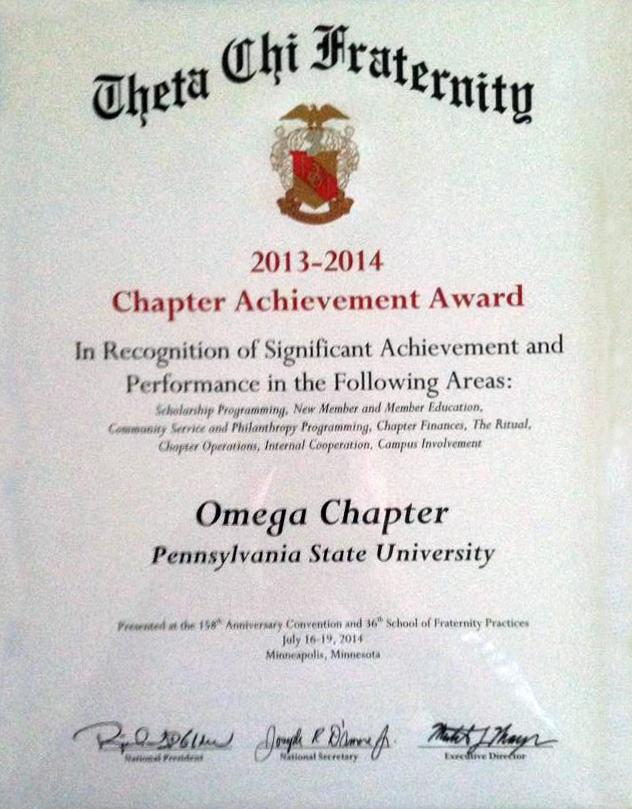2013-2014Chapter Achievement Award