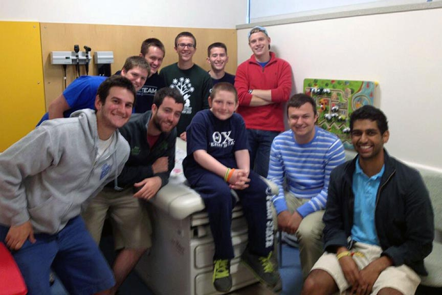 Undergraduate brothers traveled to the Hershey Medical Center to visit their THON Brother AJ Bobby on May 14. In February, Theta Chis danced for 46 hours at THON   for AJ and countless other families afflicted by pediatric cancer. The chapter raised $30,788.83 for THON 2013.
