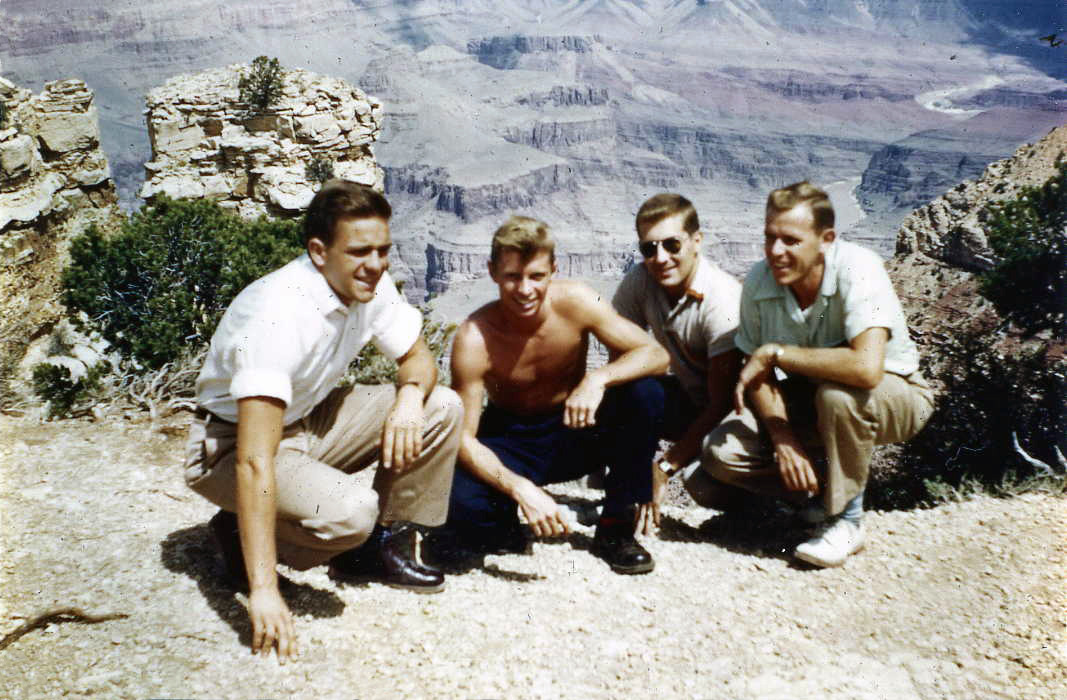 L to R: William Shomberg '53, Tom Morton '53, Richard Johnson and Richard Fronko '54 visit- ing the Grand Canyon on their way to the National Convention in Los Angeles – 1952.