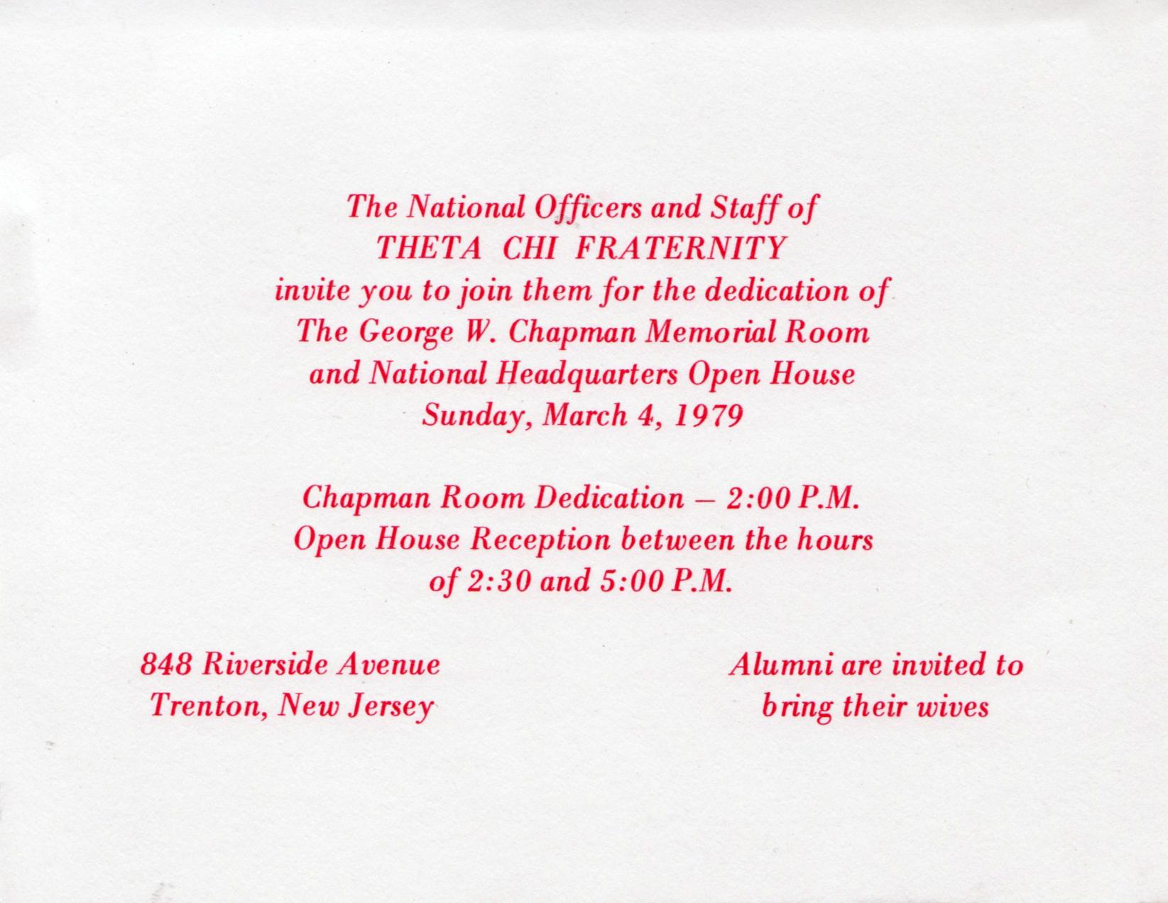 Chapman Room Dedication Invite - Inside