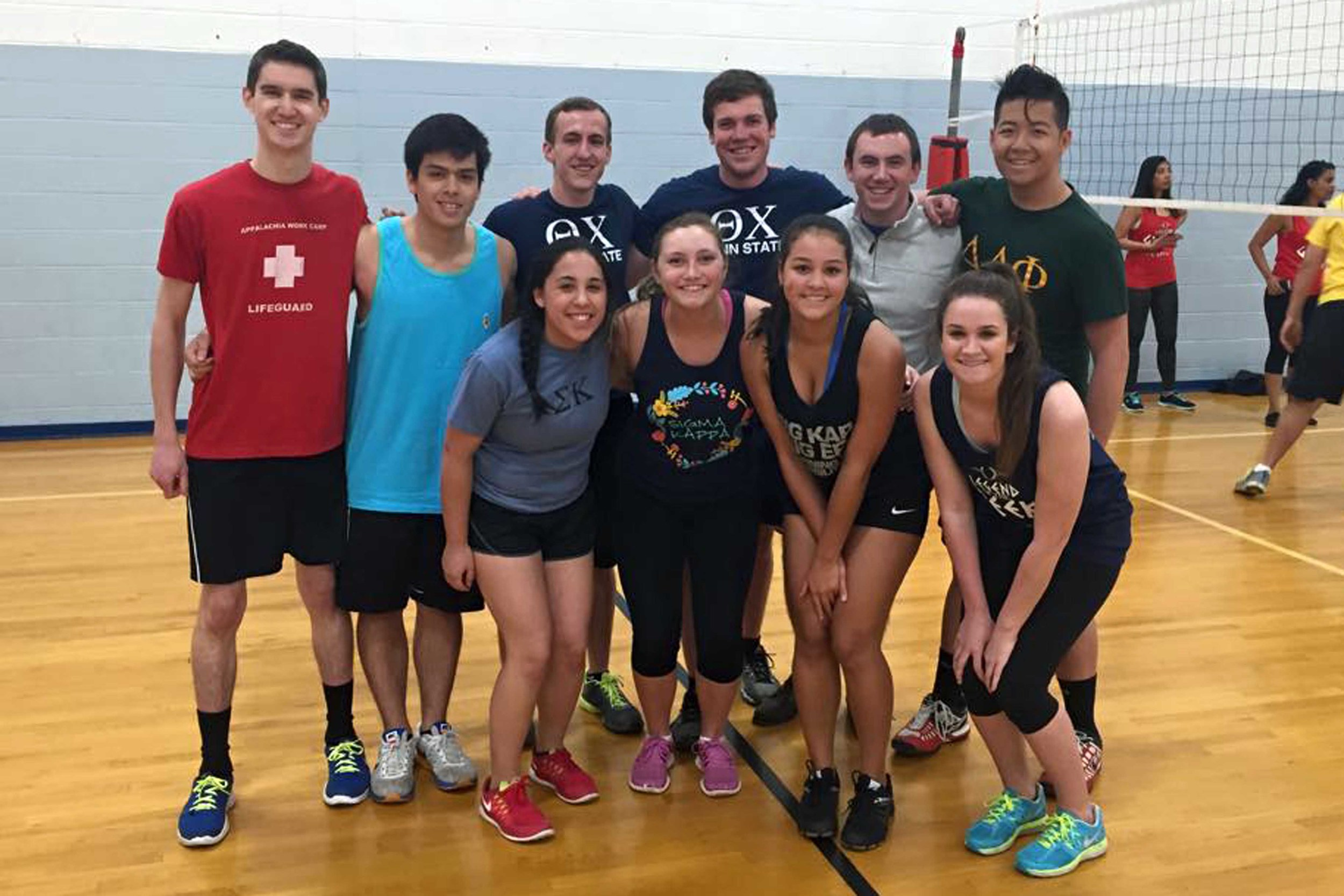 Brothers of Theta Chi, ATO and DLP after volleyball for 2015 Greek Week