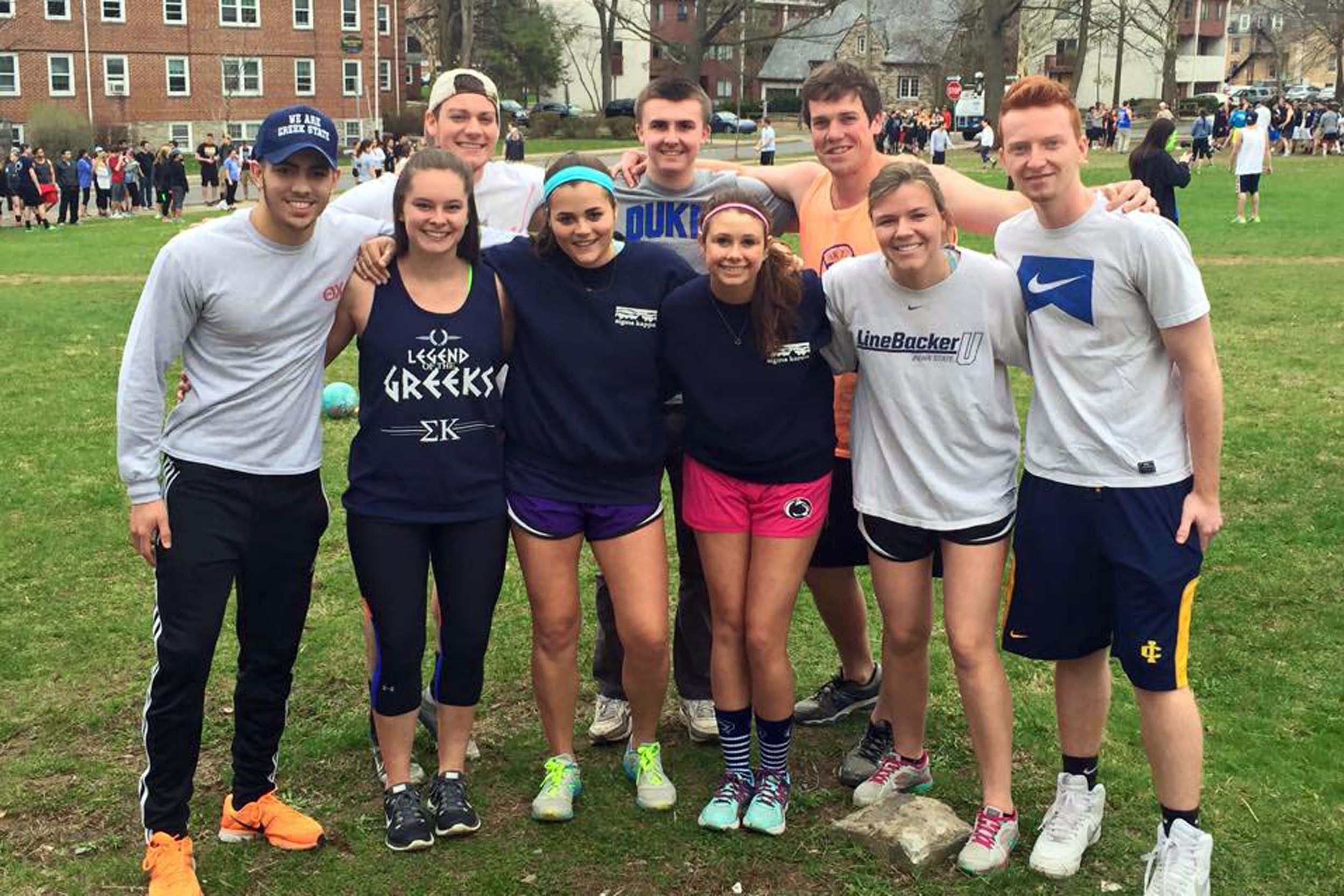 Brothers of Theta Chi, ATO and DLP after kickball for 2015 Greek Week