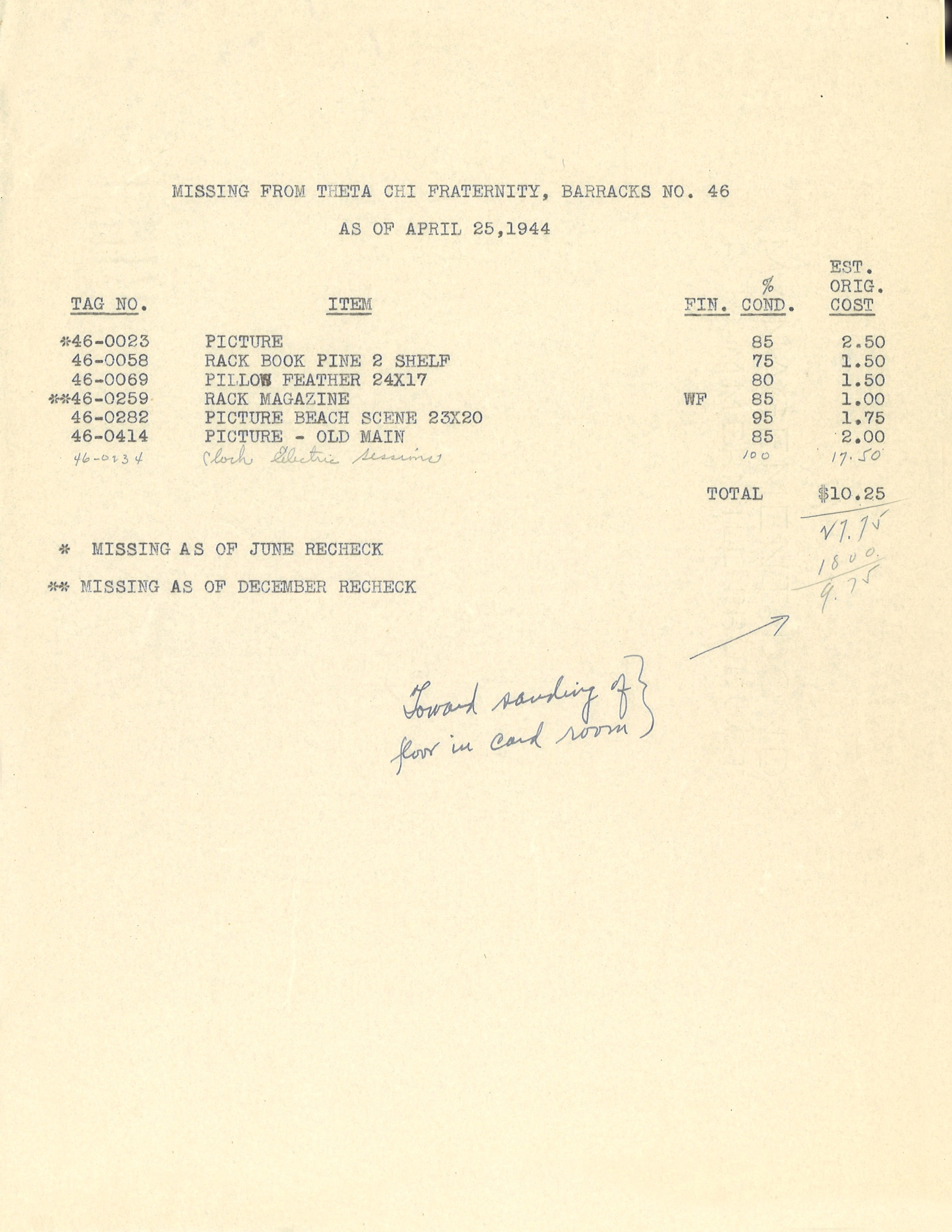 Barracks No. 46 Invoice for missing property to Pennsylvania State College from Theta Chi of Penn State, 4/15/1944