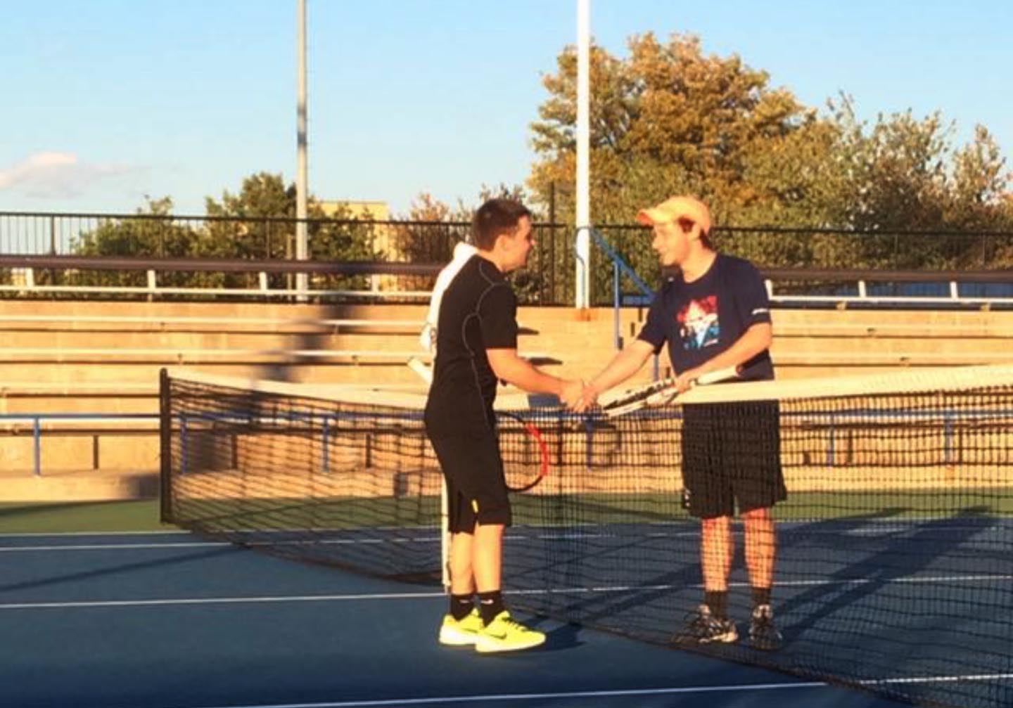 2015 Fraternity IM Tennis Champion Colin Kaye (R)