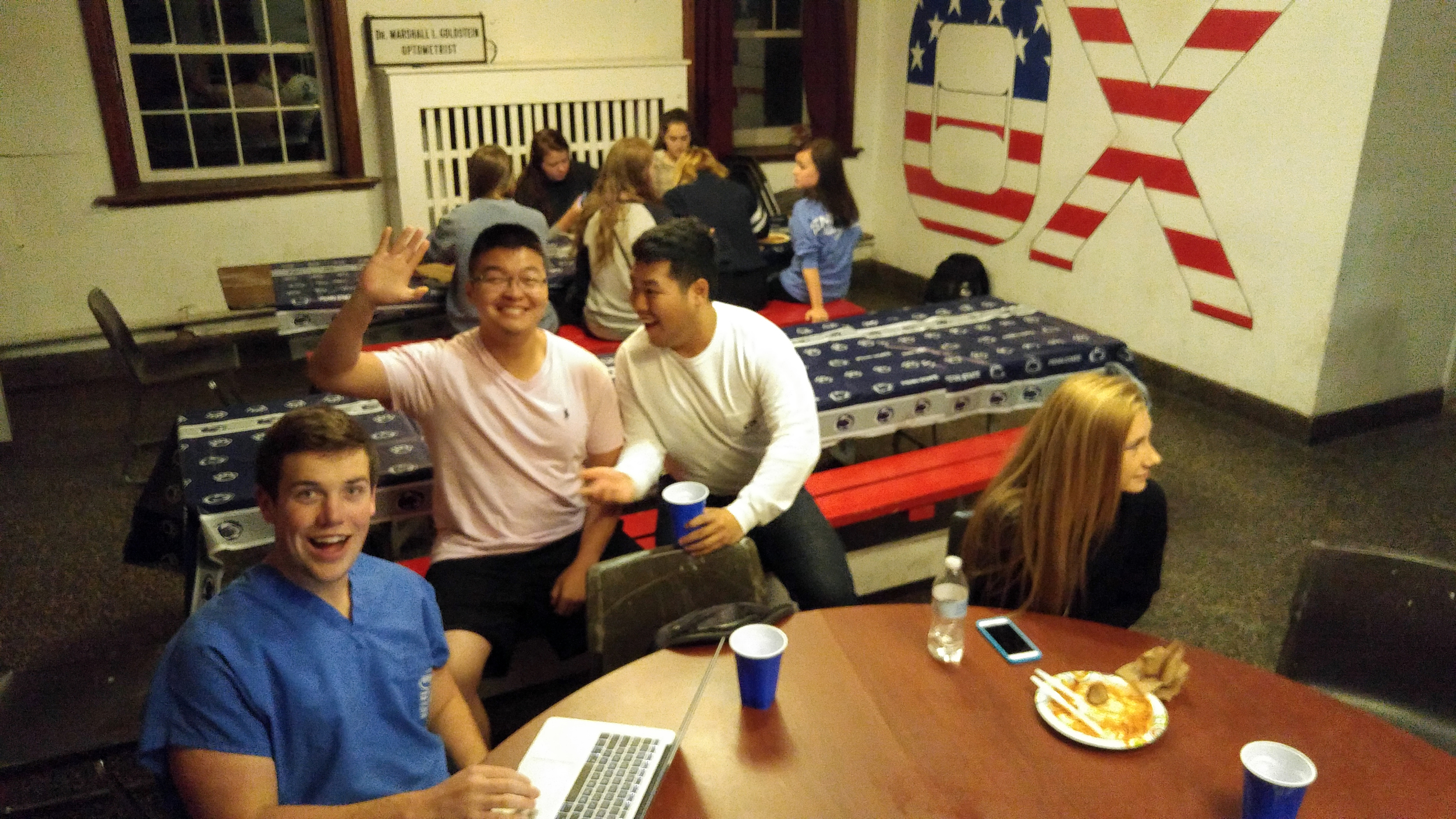 Brothers cooked and prepared pasta fdinner or guests for 4 hours in the basement in THON Fundraiser - L to R: Ryan Gattoni, Andrew Sie, Danny Lim