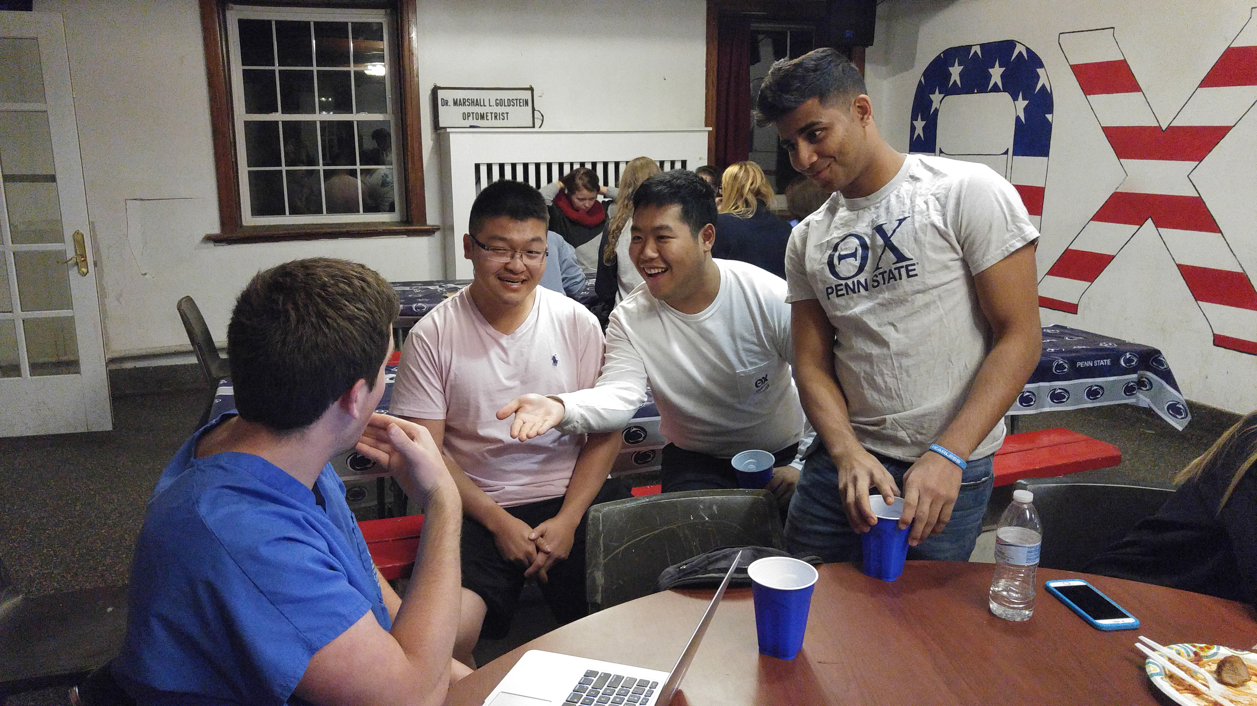 Brothers cooked and prepared pasta fdinner or guests for 4 hours in the basement in THON Fundraiser - L to R: Ryan Gattoni, Andrew Sie, Danny Lim, Milton Rahman