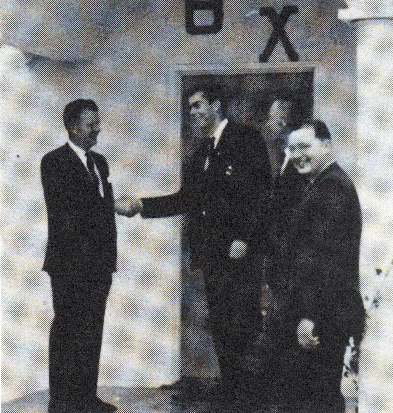 Hal Bartholomew, President of Zeta Xi Chapter, is shown welcoming some of the members of the installtion committee to the cpather house: L to R: Mark McColm (National President), Hal Bartholomew (President of Zeta Xi Chapter), Harry Anderson (Regional Counselor) and Howard R. Alter, Jr. (National Treasurer) - Nov. 19, 1967