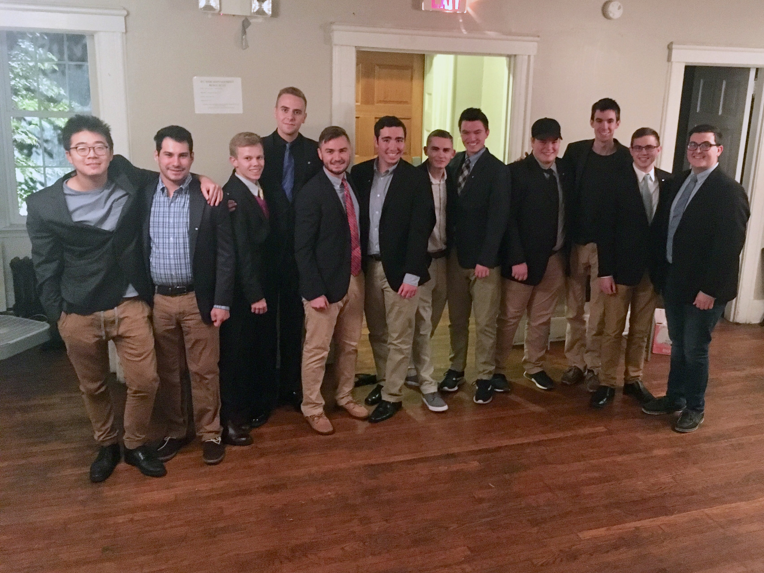 2018 Fall Pledge Class with thier Big Brothers - (from left to right): Marion and Jeremy, Jake and Carson, Nate and Rob, Adam and Trey, Nick and Josh, and lastly John and Mike.
