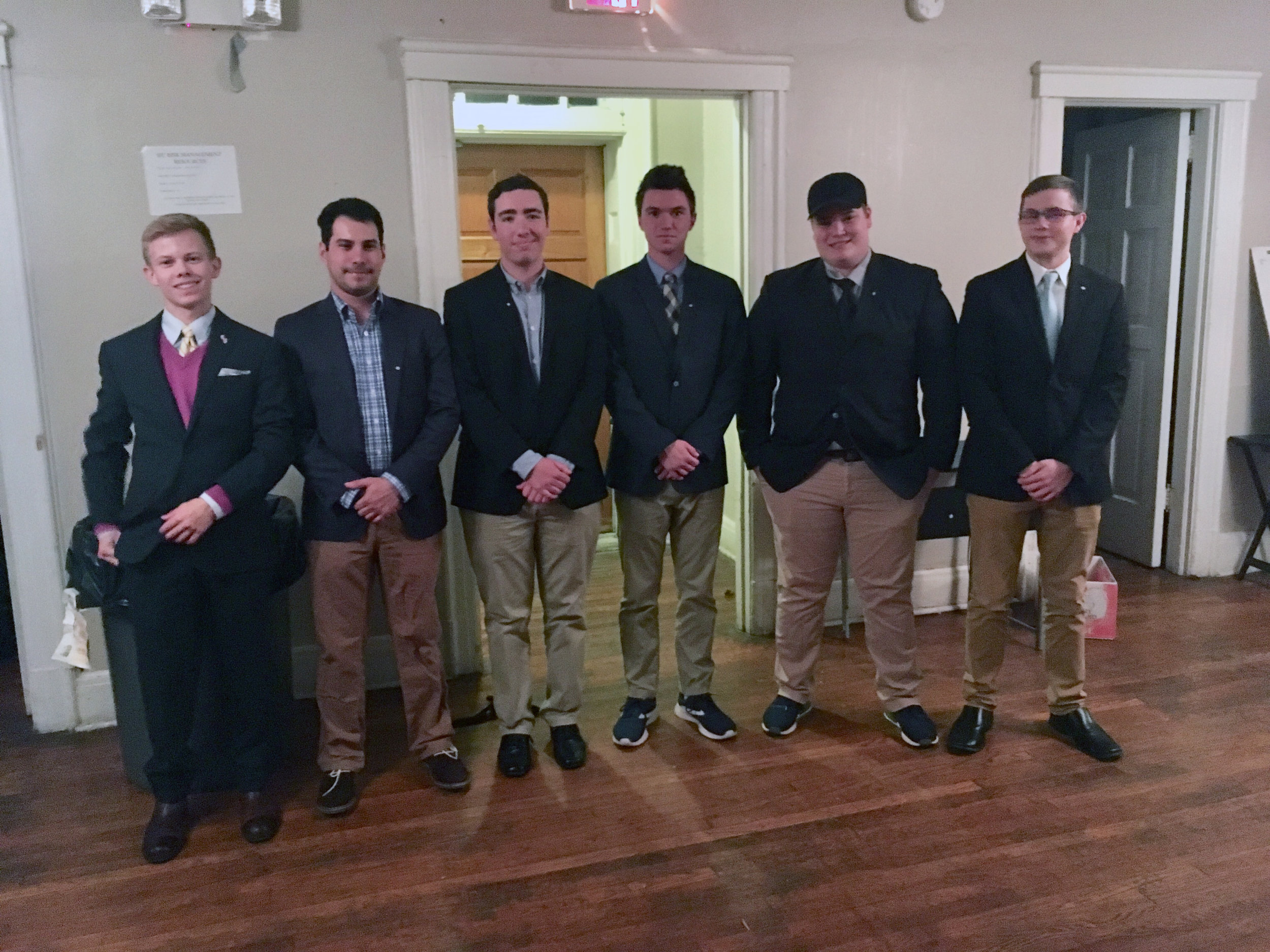 2018 Fall Pledge Class: (from left to right) Jake, Jeremy, Rob, Trey, Nick, and John.
