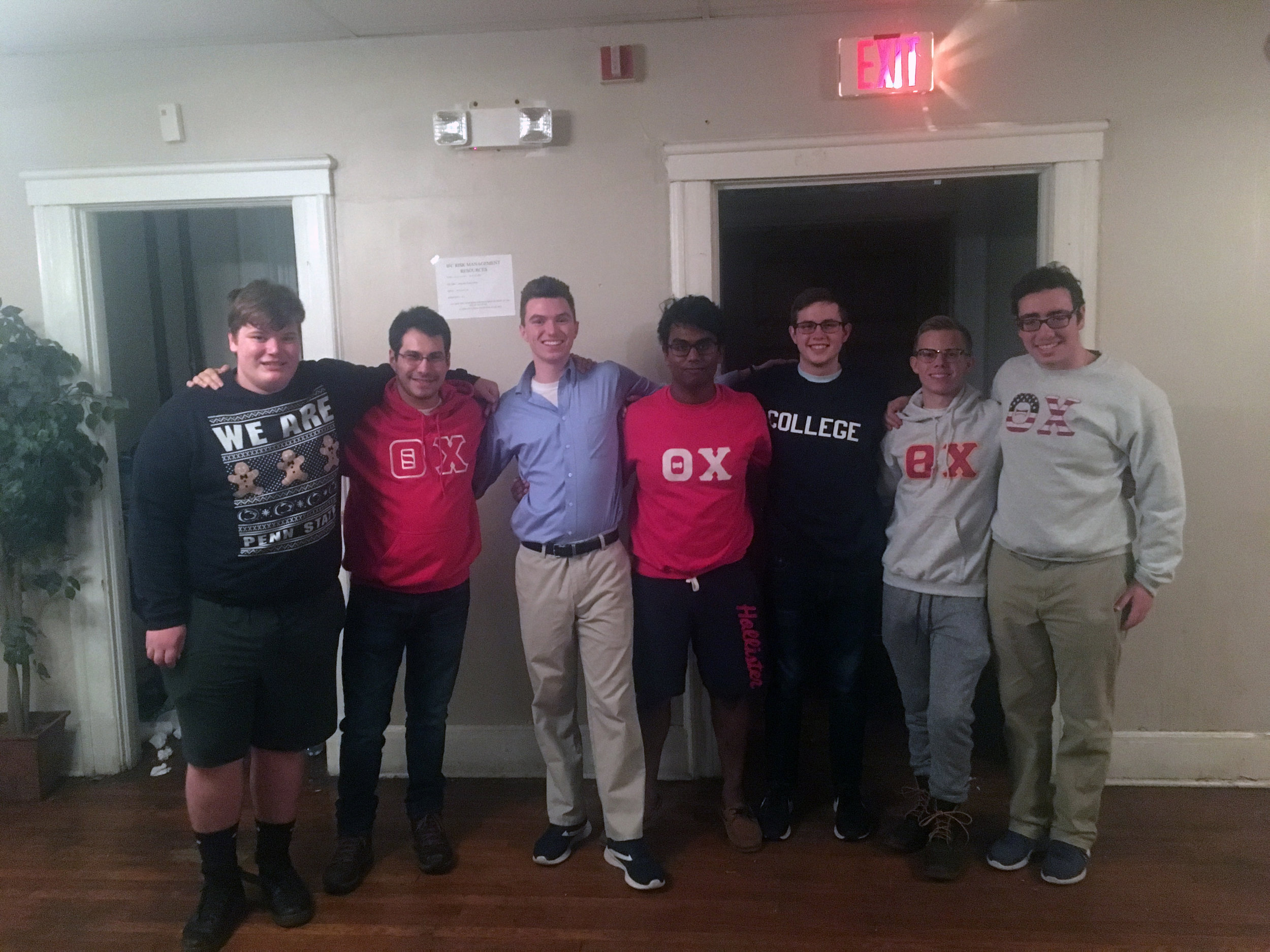 Newly Initiated brothers with their Marshal, (from left to right): Nick, Jeremy, Trey, Kawsar (Marshal), John, Jake, and Rob - Nov. 2018