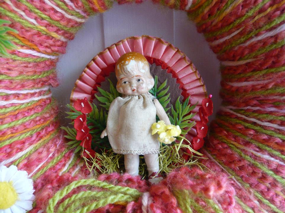 Girl & Yarn Wreath, detail