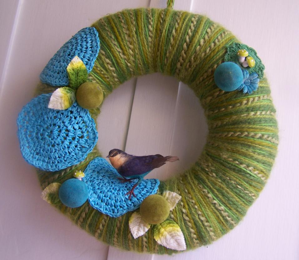 Mixed Greens Yarn Wreath