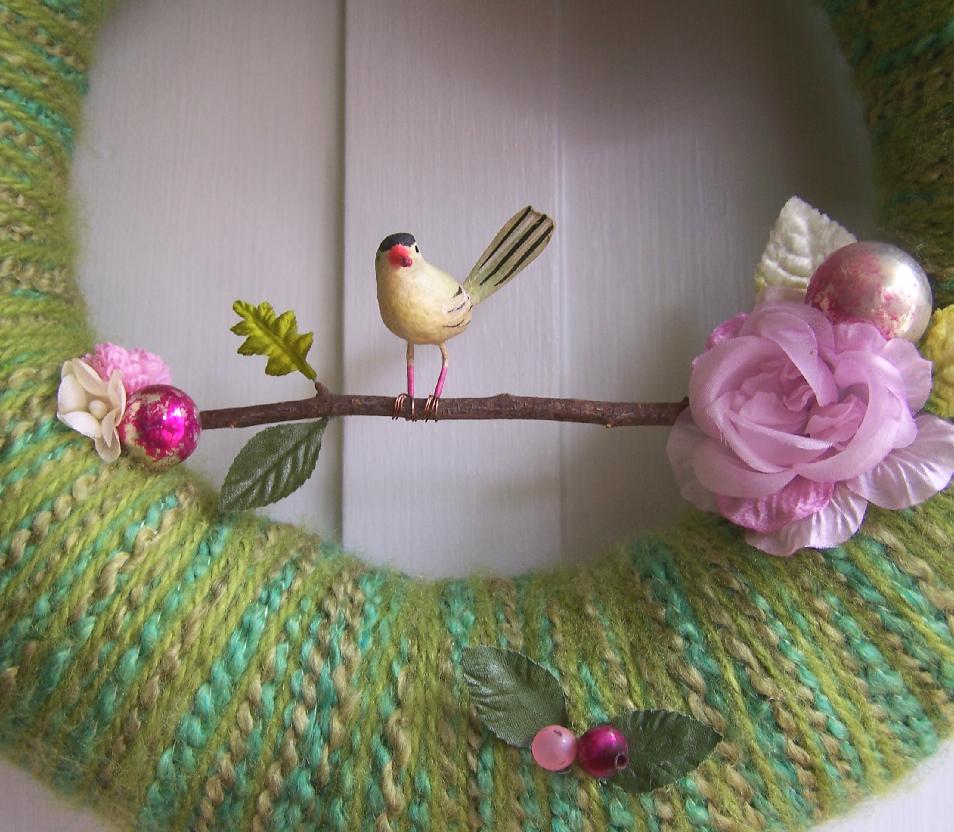 Branch & Yarn Wreath, detail