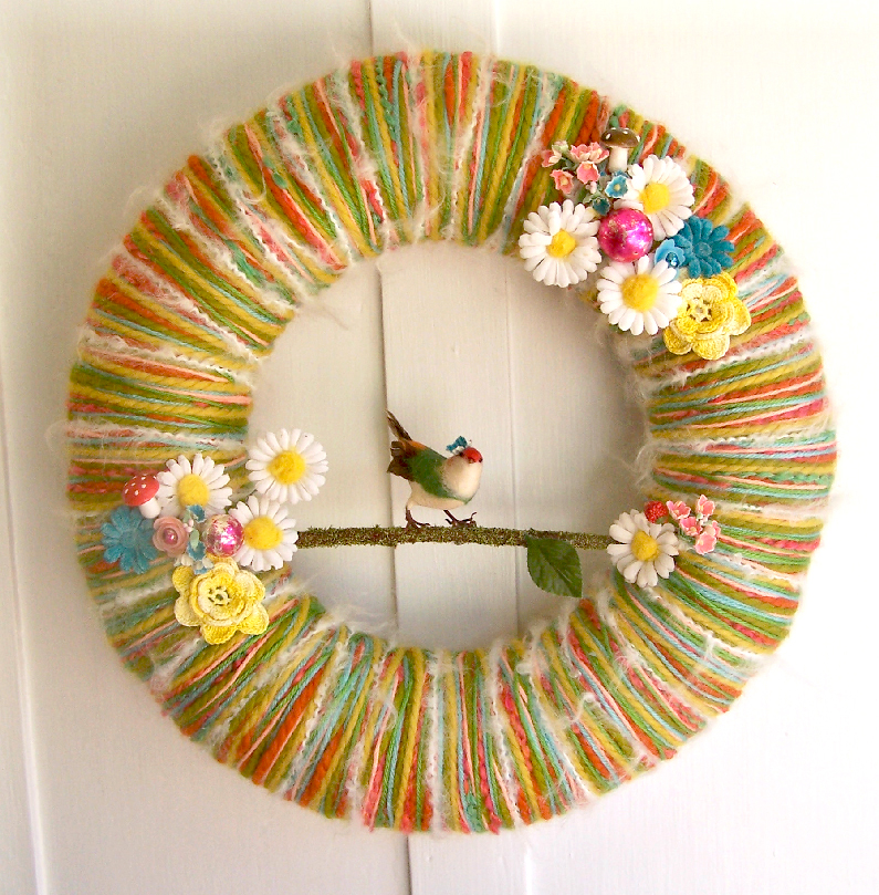 Bird Candy Yarn Wreath