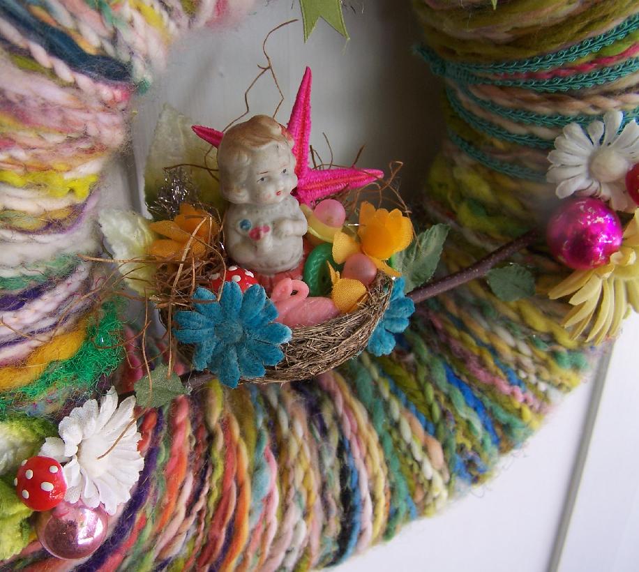 Girl in Nest Yarn Wreath, detail.