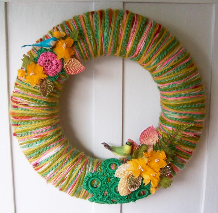 Birds & Yarn Wreath