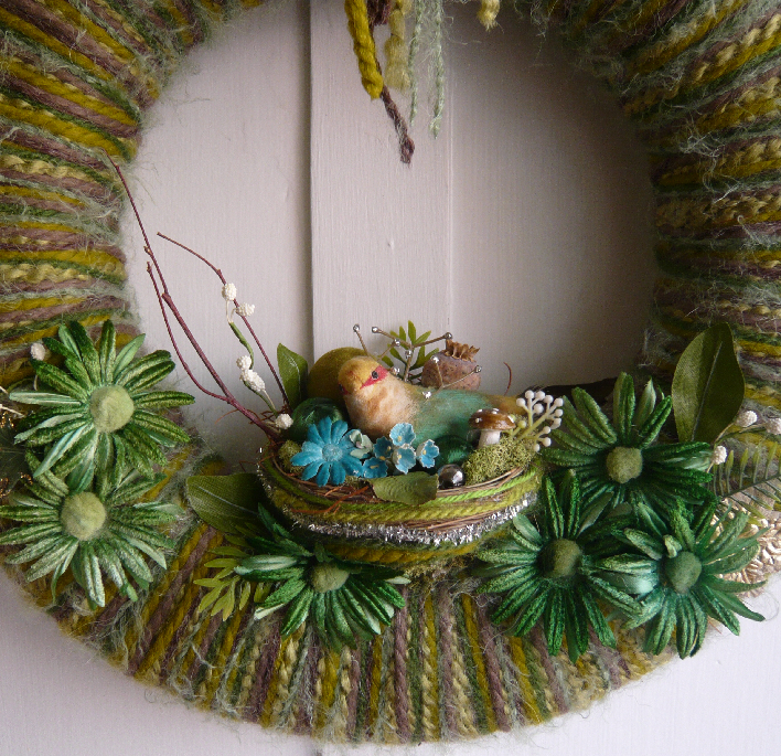 Green Nest Yarn Wreath, detail