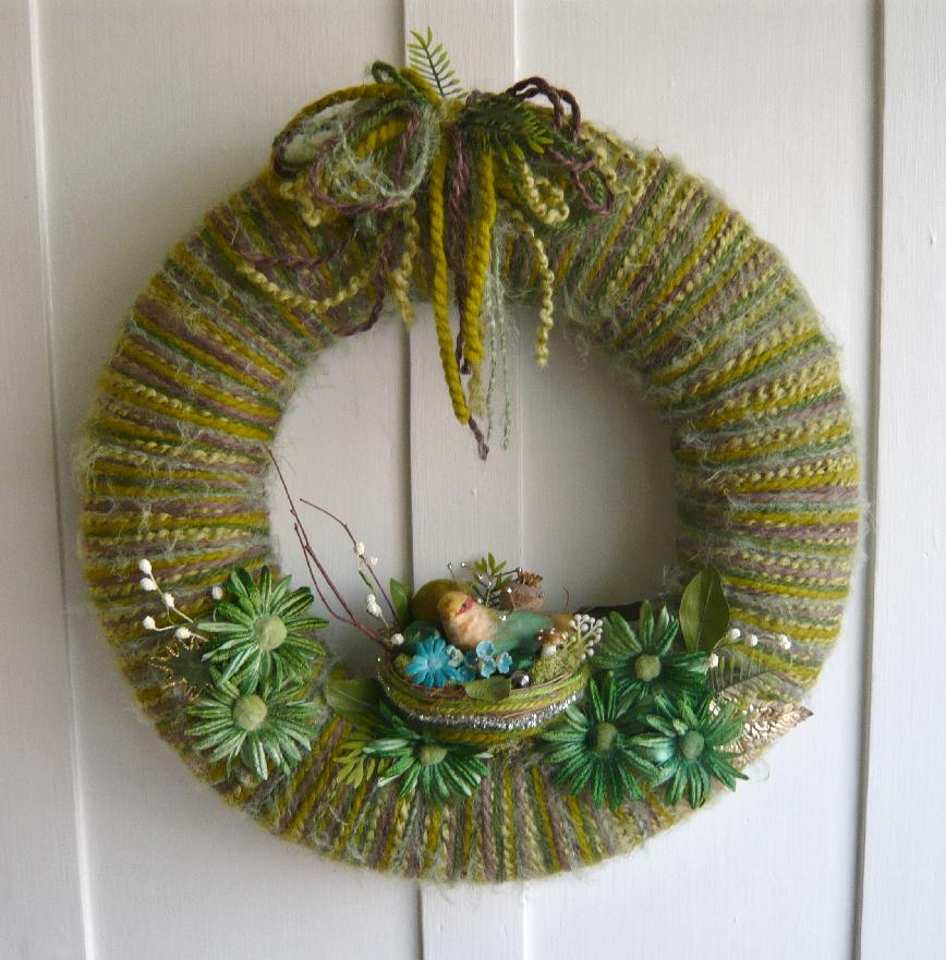 Green Nest Yarn Wreath