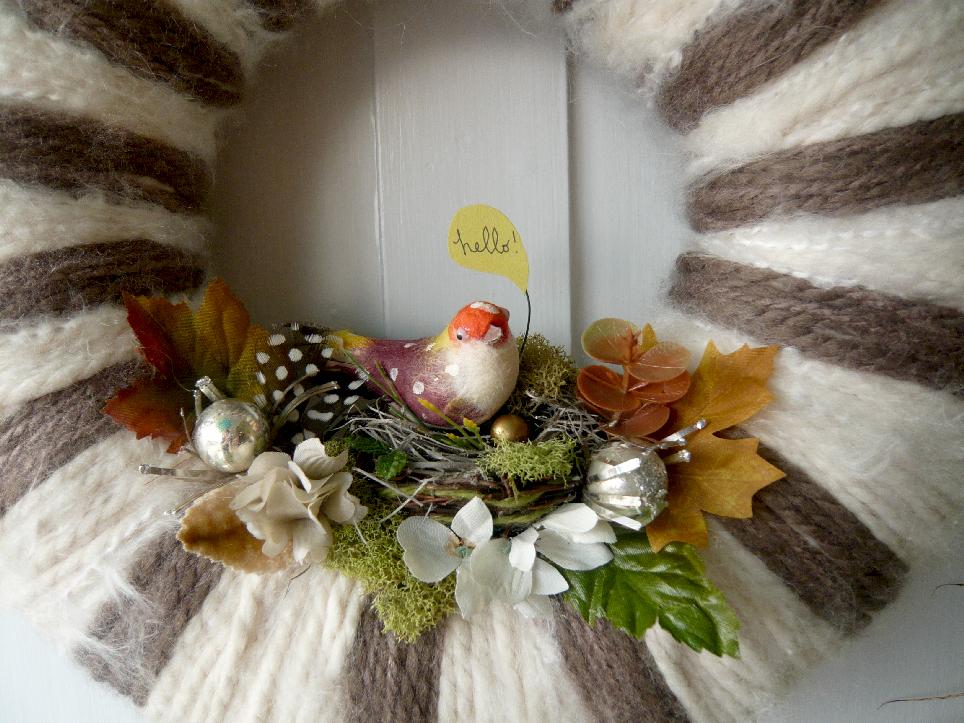 Hello & Yarn Wreath, detail