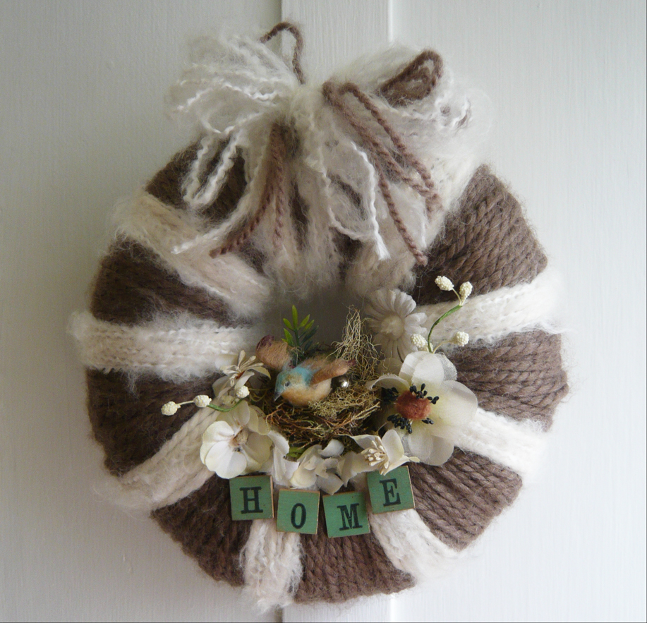 Home Stripe Yarn Wreath