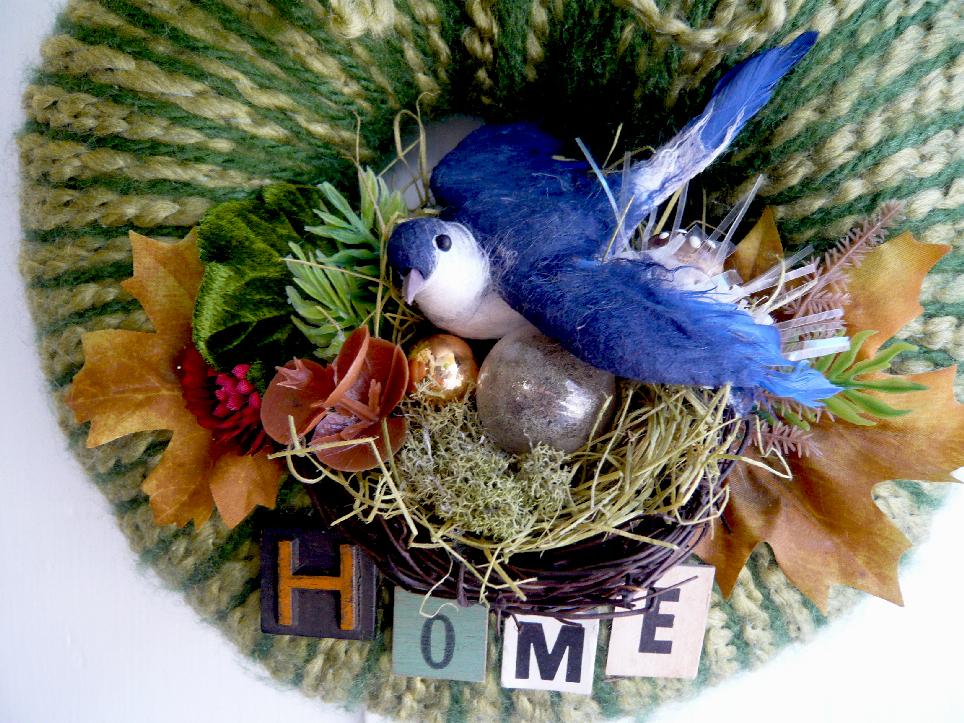 Blue Bird Home Yarn Wreath, detail