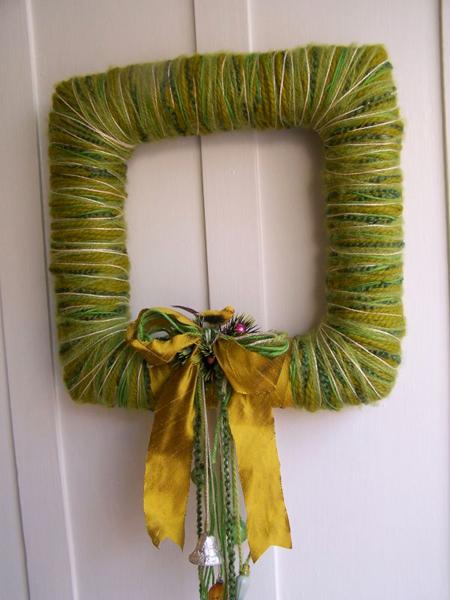 Square Bird & Yarn Wreath