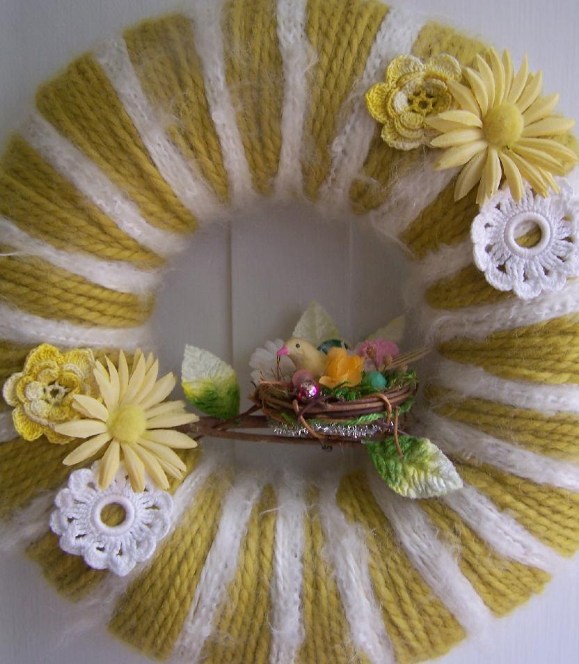 Yellow Stripe Nest & Yarn Wreath