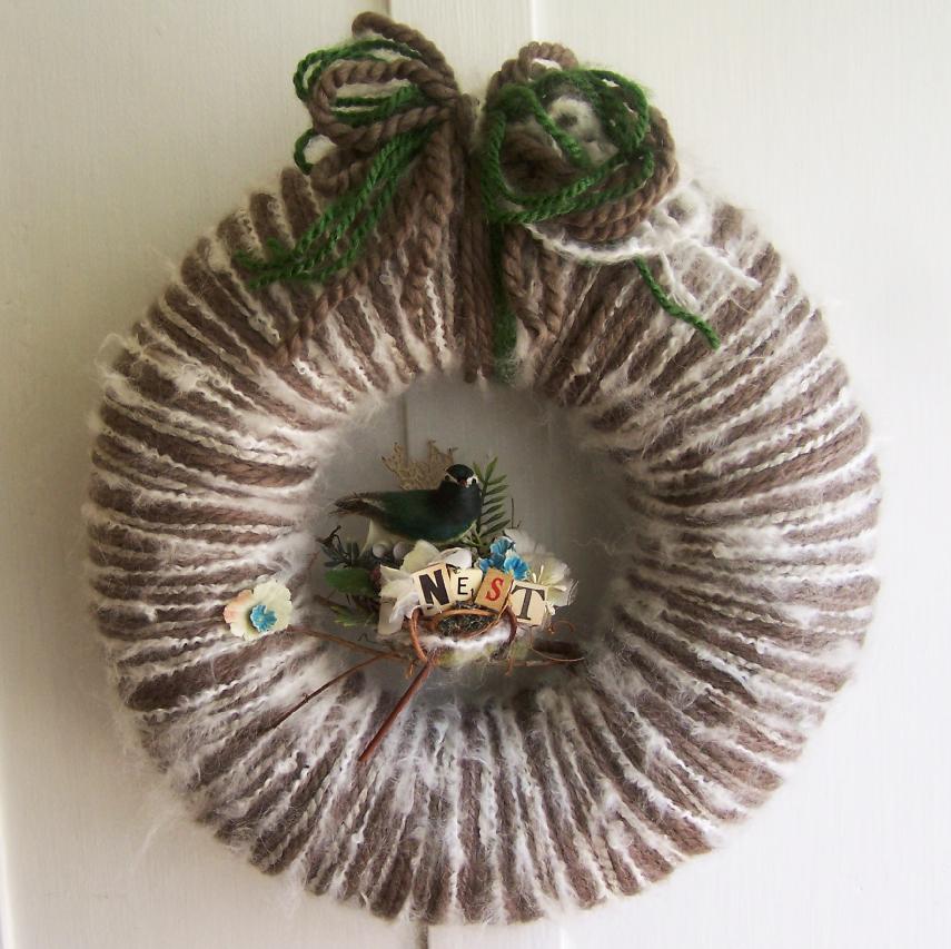 Green Bird Nest Yarn Wreath