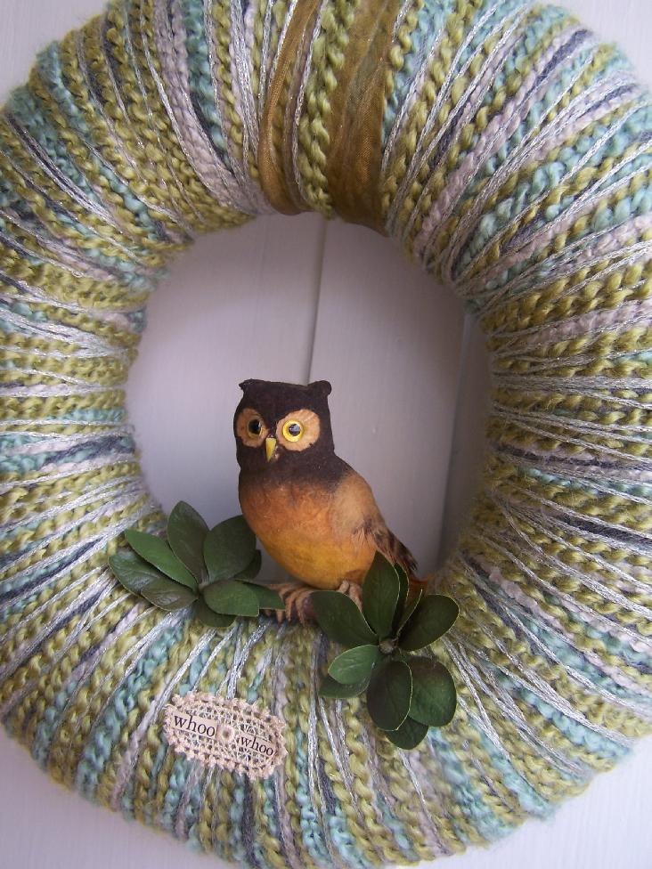 Brown Owl & Yarn Wreath