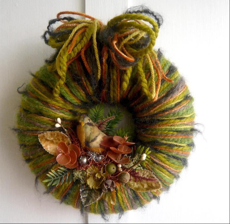 Fall Bird & Yarn Wreath