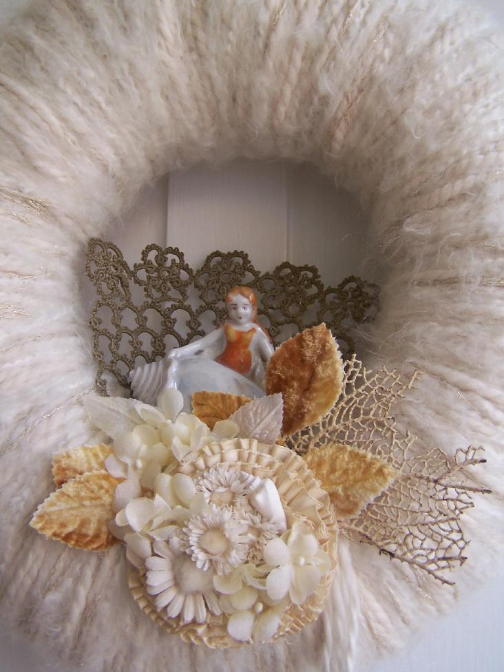 Sea Siren Yarn Wreath, detail